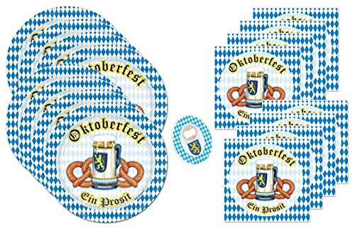Oktoberfest Party Supplies Bundle Pack for 16 Plus Bonus Octoberfest Bottle Opener