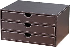 UnionBasic Multi-Functional PU Leather Desk Organizer File Cabinet Office Supplies Desktop Storage Organizer Box with Drawer (Plain Coffee (3-Drawer))