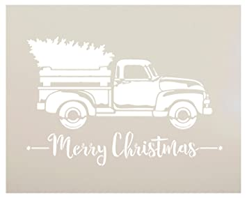 Old Truck With Christmas Tree Painting.Little Red Truck With Merry Christmas Stencil By Studior12 For Painting Wood Signs Vintage Script Lettering Retro Holiday Home Decor Rustic