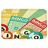 VROSELV Custom Door MatVintage Decor Bingo Game with Ball and CardPop Art Stylized Lottery Hobby Celebration Theme Multi
