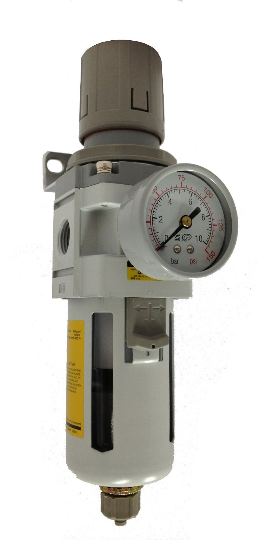 PneumaticPlus SAW3000M-N03BDG Air Filter Regulator Combo Piggyback, 3/8'' Pipe Size, NPT-Auto Drain, Poly Bowl with Gauge