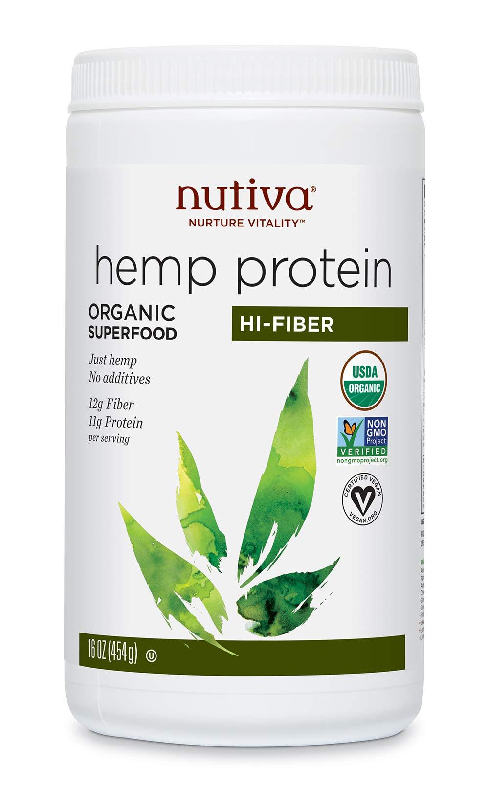 Nutiva Organic Hemp Protein, Hi-Fiber, 16 Ounce
