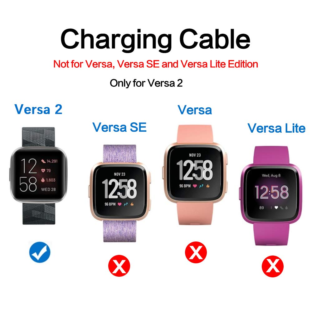 NANW 2-Pack Compatible with Fitbit Versa 2 Charger, 3.3Ft Replacement USB Charging Cable Dock Cord Cradle Adapter Accessories for Versa 2 Smartwatch (Not for Versa)