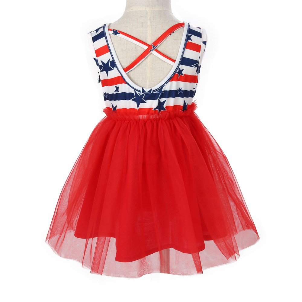 4a8ccc6792 Amazon.com   Fiaya Toddler Baby Kids Girls 4th of July Princess Dress  Outfits Net Yarn Tutu Clothes American Flag Star Stripe Dress (3T
