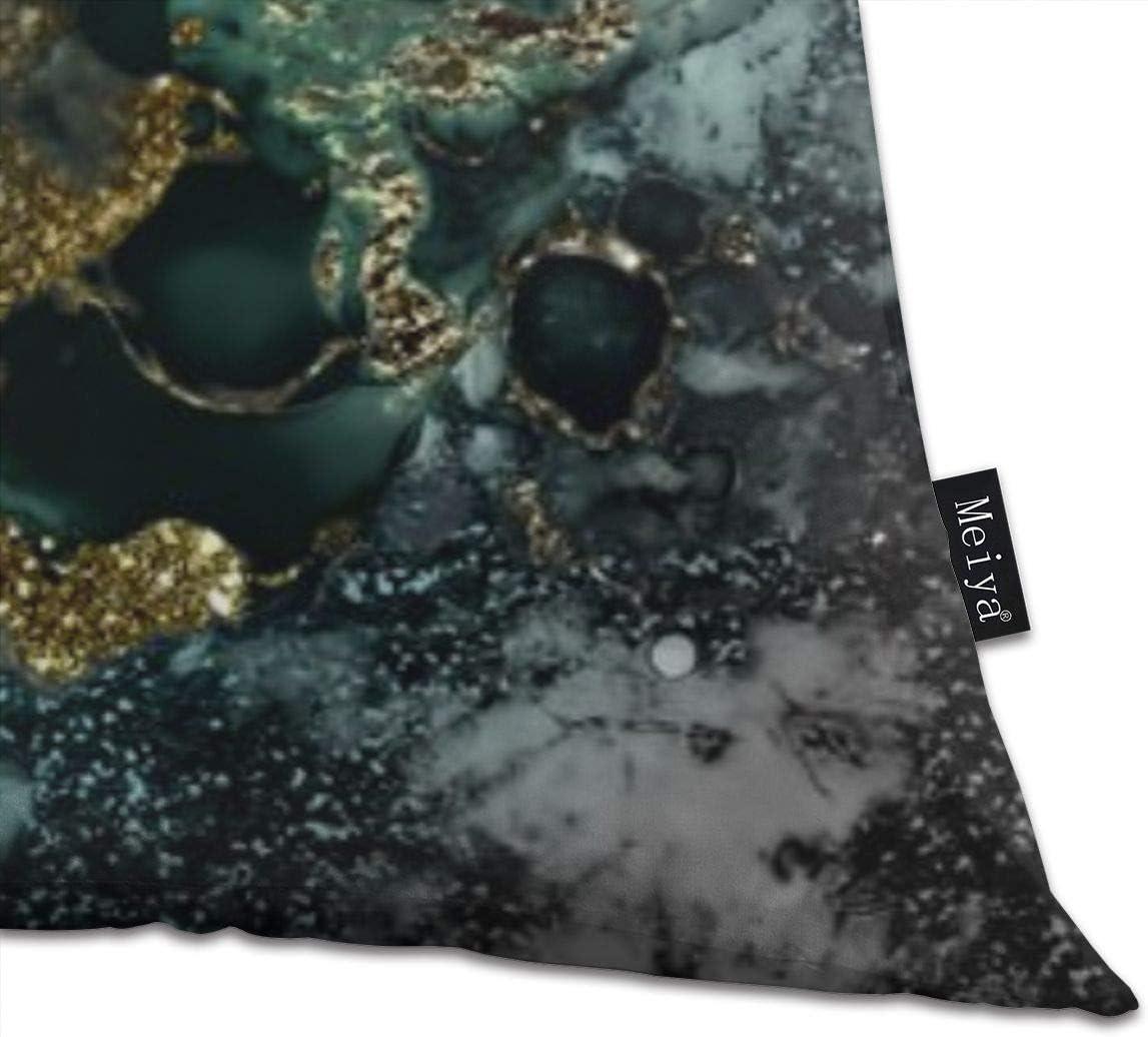 Gold Indigo Malachite Marble Pillowcase Home Life Cotton Cushion Case 18 x 18 inches