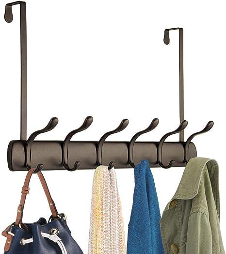 Para puertas de hasta 3,8 cm etc jers/éis Pr/áctico colgador de ropa para chaquetas Juego de 3 mDesign Percheros para puerta Ganchos para colgar que ahorran espacio toallas transparente