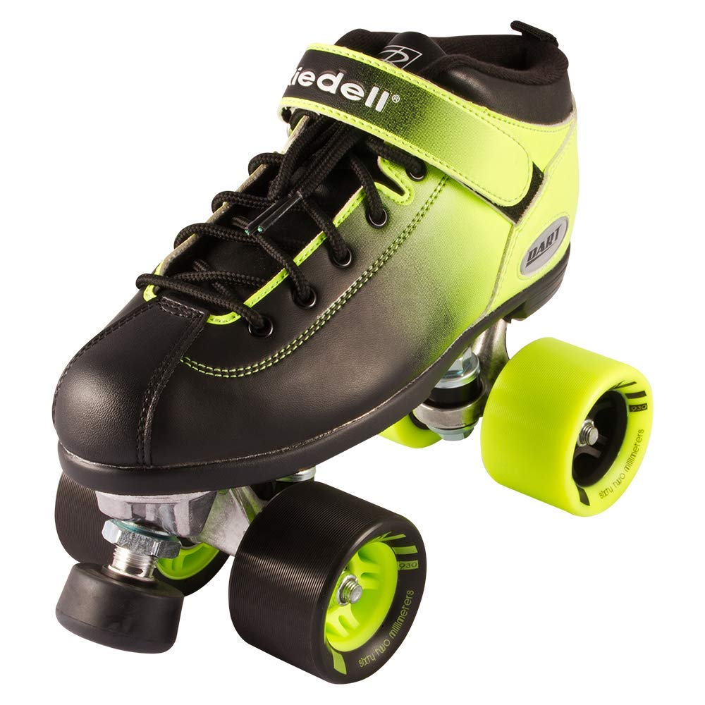 Riedell Skates - Dart Ombré - Quad Roller Speed Skate   Green & Black   Size 8