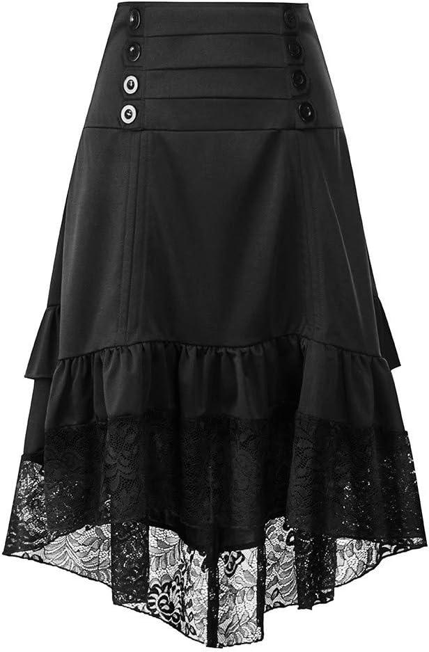 LuckyGirls Faldas de Mujer Vintage Encaje Splicing Pliegue Botones ...