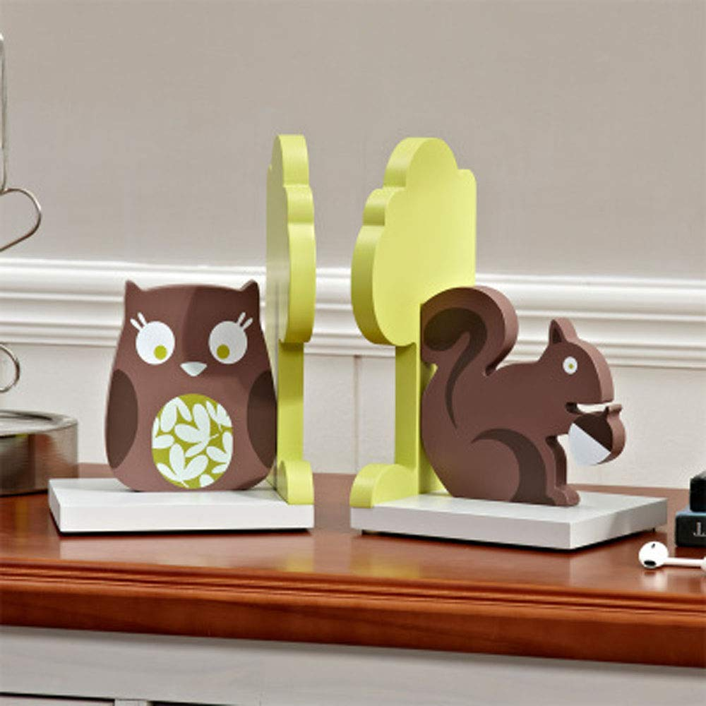 Cartoon Elephant Giraffe//Sailboat//Rocket//Robot//Flower Bookends Bright Color Book Stand Rack for Nursery Room//Kids Room Decor Baby Children Gift Idea Squirrel /& Owl