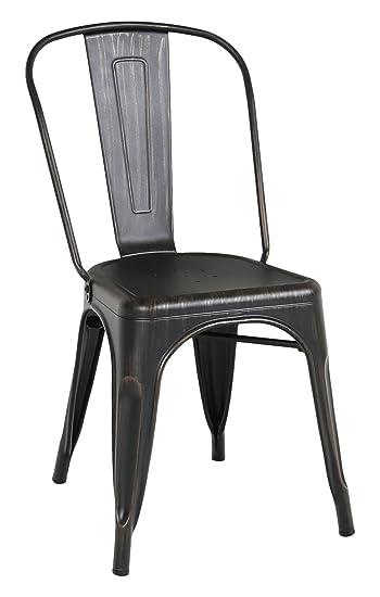 WE Furniture Stackable Metal Cafe Bistro Chair, Antique Black