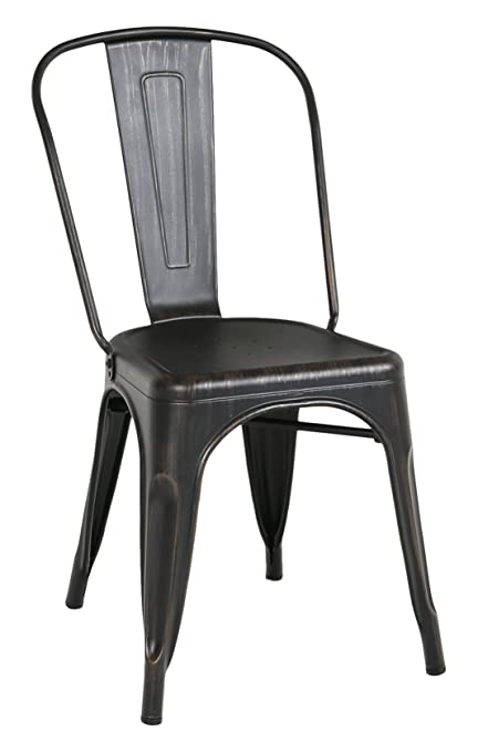 Charmant WE Furniture Stackable Metal Cafe Bistro Chair, Antique Black