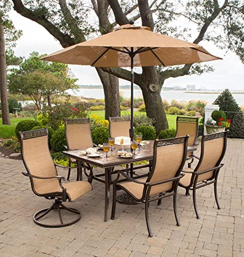 Hanover MONACO7PCSW-SU-P Monaco 7 Pc Two Swivel, Four Chairs, and a 40 x 68 in. Table with Umbrella Outdoor High Back Sling Dining Set, Tan Bronze