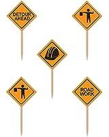 Beistle Construction Signs Picks, 2 1/2-Inch, Orange/Black