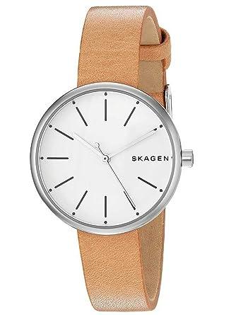 fa08d3d7ac SKAGEN[スカーゲン] SIGNATUR シグネチャー シルバー・ベージュ レザー レディース アナログ ステンレス クオーツ 腕時計 デンマーク