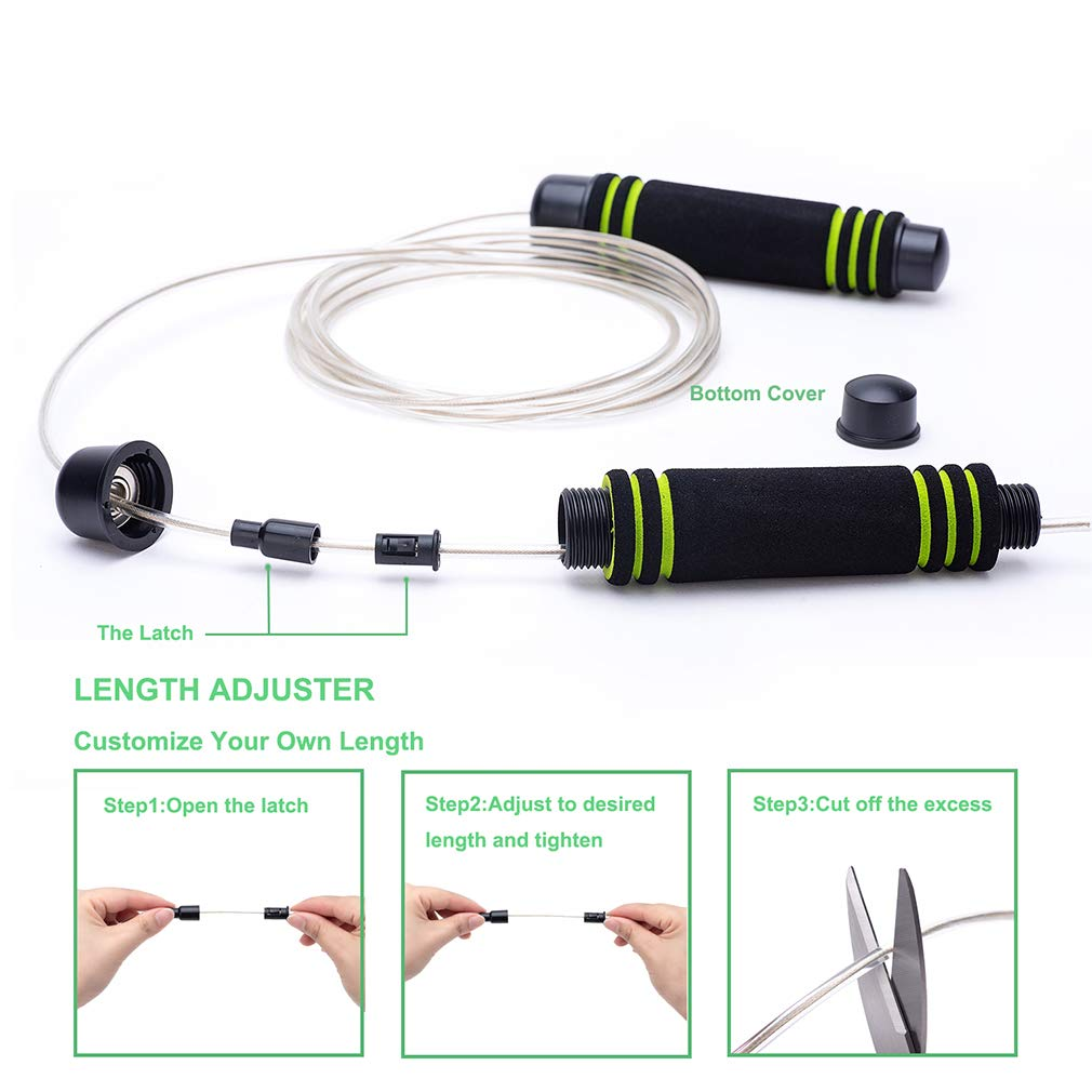 VIVILIN Jump Rope with Anti-Slip 6 Memory Foam Handles Adjustable Skipping Rope Tangle-Free with Ball Bearings Rapid Fitness Speed Rope Cable