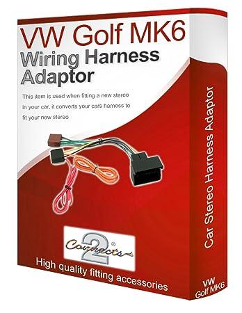 vw golf mk6 cd radio stereo wiring harness adapter lead amazon covw golf mk6 cd radio stereo wiring harness adapter lead loom iso converter wire