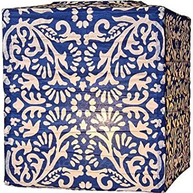 Luna Bazaar Block Printed Premium Square Paper Lantern, Clip-On Lamp Shade for Home Decor and Wedding Decorations (12-Inch, Navy Blue)