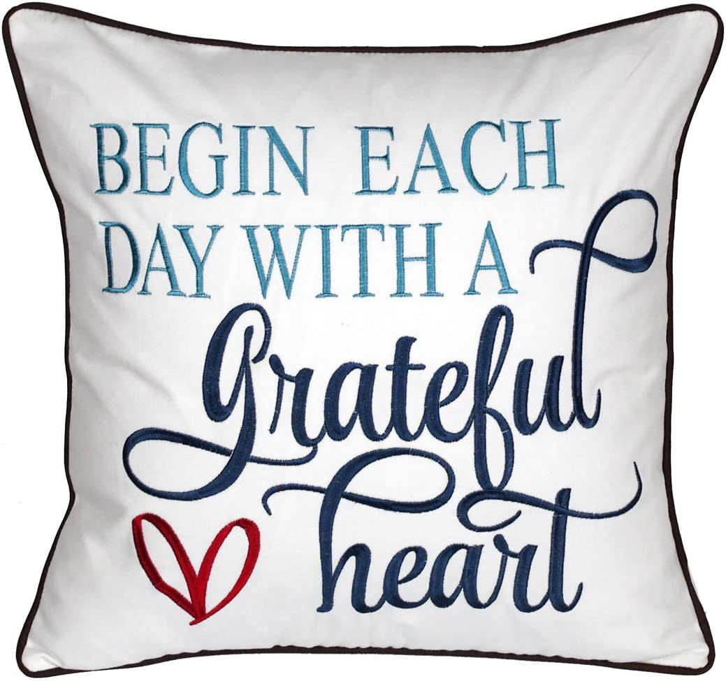 DECOPOW Embroidered Inspirational Quote Pillow Covers,Square 18 inch Decorative Pillow Cover with Begin Each Day with A Grateful Heart Pattern (Cover ONLY)