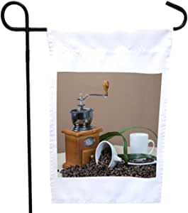 Rikki Knight Coffee Grinder and Cups on Some Bean House or Garden Flag with 11 x 11-Inch Image, 12 x 18-Inch