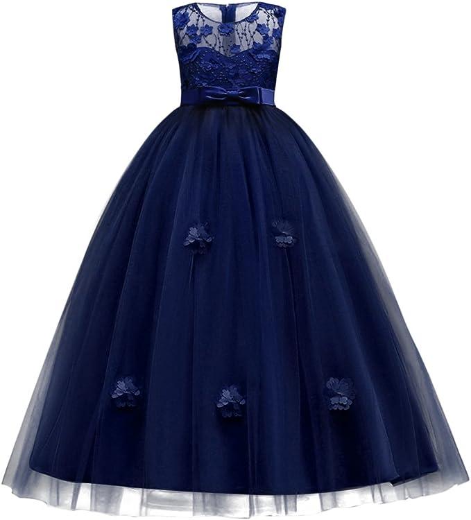 Abiti Da Cerimonia Ragazza 2018.Vestito Principessa Per Ragazza Elegante Floreale Fiore Pizzo
