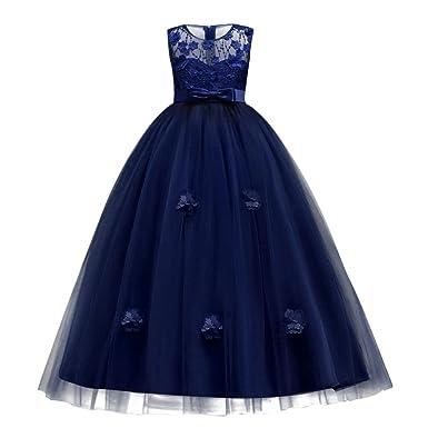 Vestito Principessa per Ragazza Elegante Floreale Fiore Pizzo Abiti da Sera  Matrimonio Damigella d Onore 04d726bdf0b