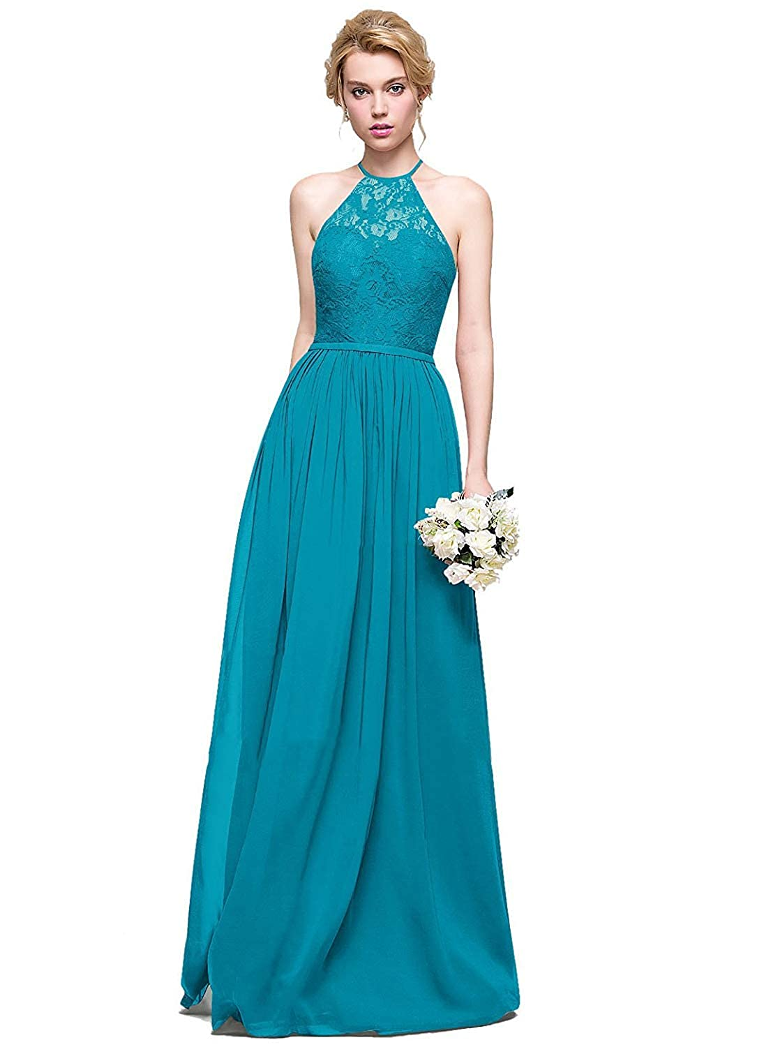 Aqua Halter Lace Sweetheart Neck Bridesmaid Dresses Long Prom Evening Gown