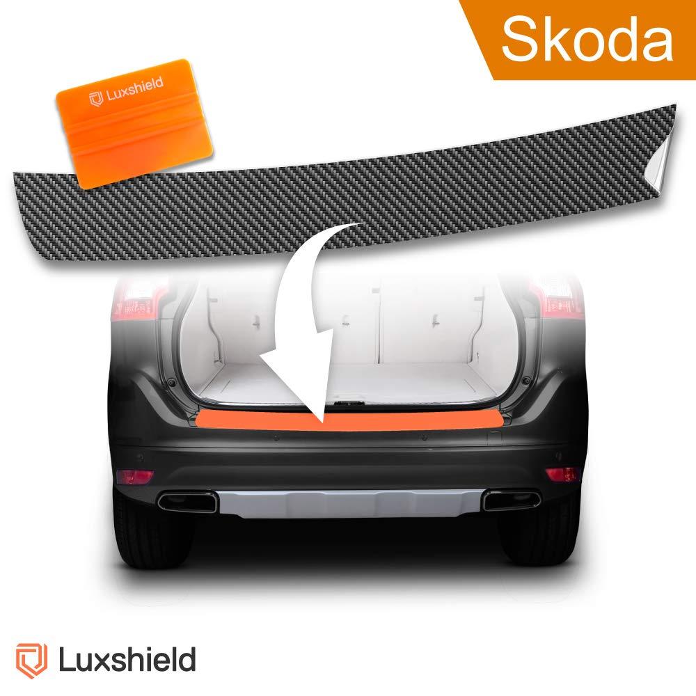 Luxshield Ladekantenschutz Folie inkl. Profi-Rakel - Superb Kombi 3 (III) 3V ab 2015 - Stoß stangenschutz, Kratzschutz, Lackschutzfolie - Transparent - selbstklebend
