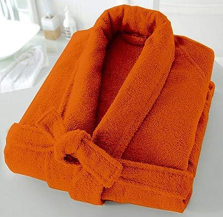 Casabella - Albornoz de rizo de 500 g/m², 100 % algodón, con cuello esmoquin, unisex, algodón, Naranja, S/M: Amazon.es: Hogar