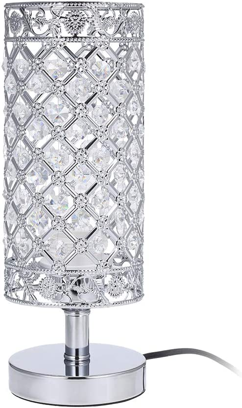 Amazon Com Tomshine Crystal Table Lamps Silver Bedside Nightstand Lamp Desk Lamp For Living Room Bedroom Decorative Dining Room Kitchen Table Lamps Home Kitchen