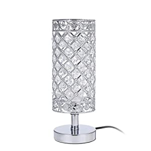 Tomshine Crystal Table Lamps Silver Bedside Nightstand Lamp Desk Lamp for Living Room Bedroom Decorative Dining Room Kitchen Table Lamps
