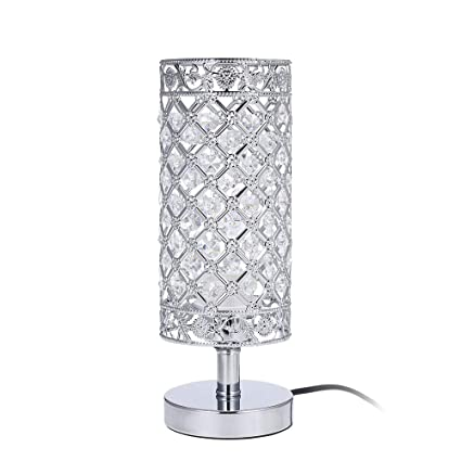 buy popular deee0 e9f81 Tomshine Crystal Table Lamps Silver Bedside Nightstand Lamp Desk Lamp for  Living Room Bedroom Decorative Dining Room Kitchen Table Lamps
