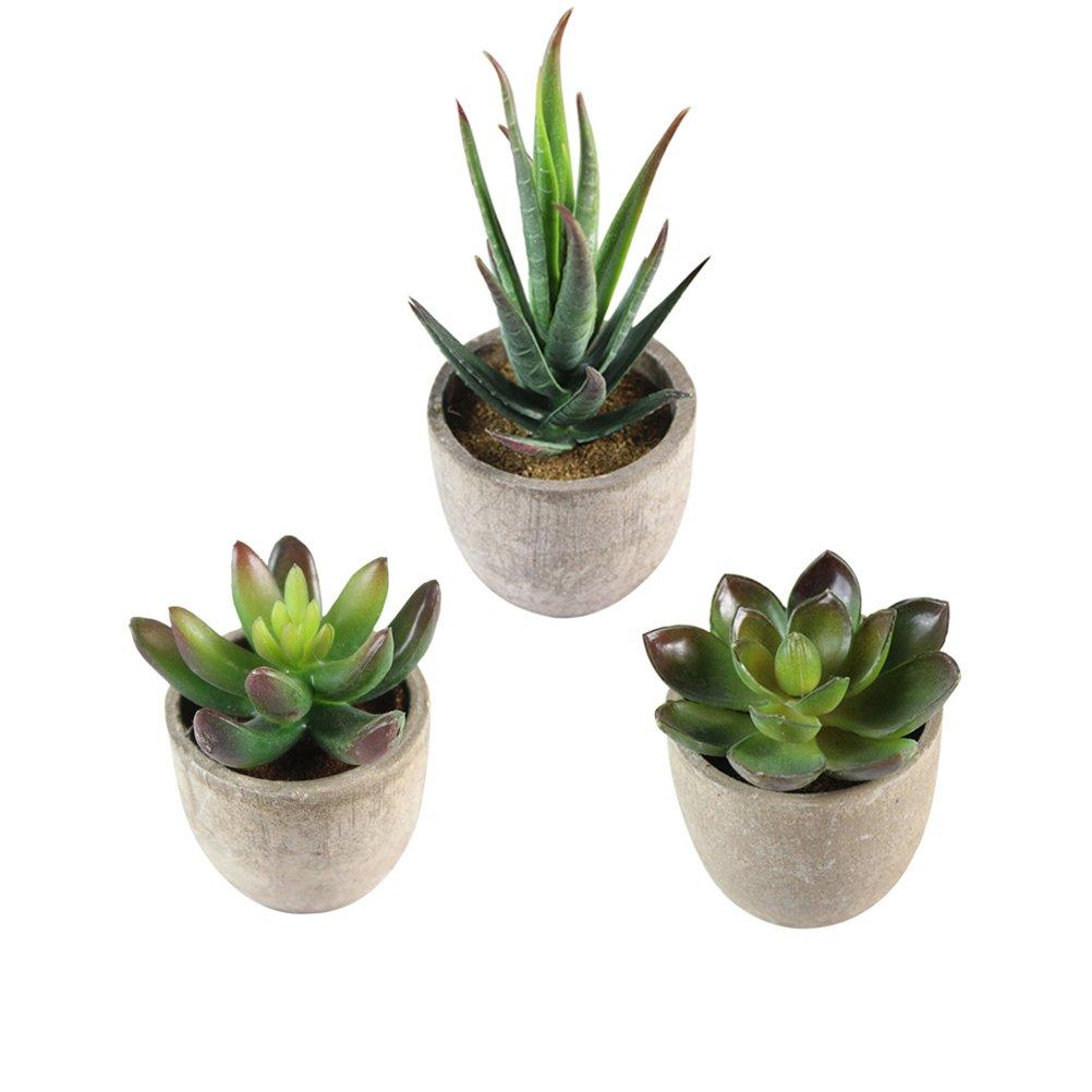 BESTOMZ 3pcs Decorative Faux Succulent Artificial Succulent Fake Simulation Plants with Pots