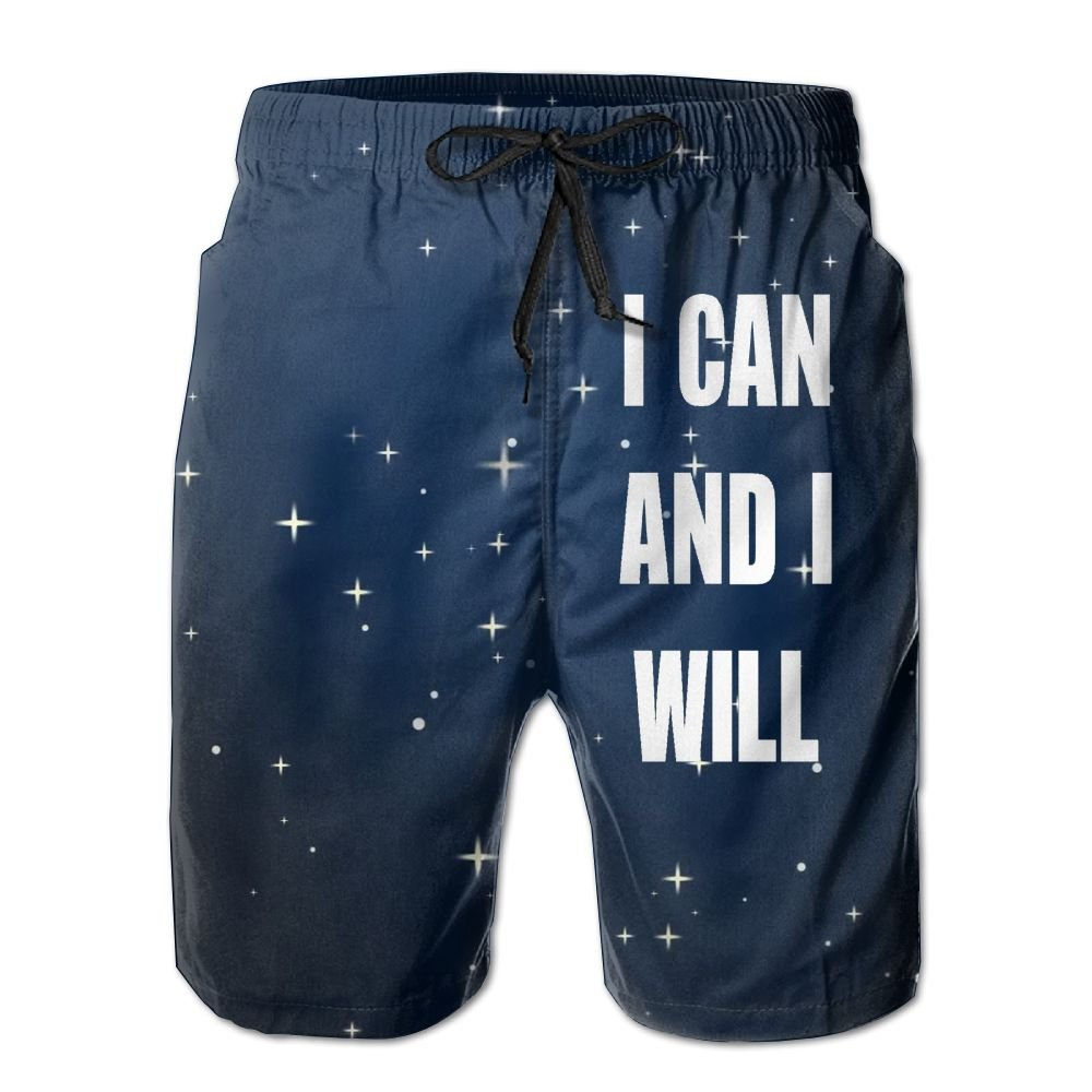 Helidoud I CAN and I Will Mens Athletic Classic Summer Shorts Casual Swim Shorts with Pockets