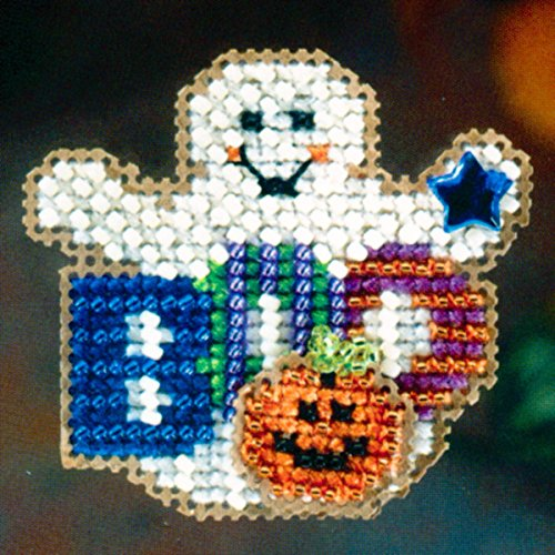 Boo Ghost Beaded Counted Cross Stitch Halloween Ornament Kit Mill Hill 2006 Autumn Harvest MH18-6202]()