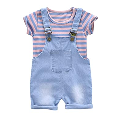 2PCS Toddler Kids Baby Girls T-shirt Tops+Suspender Trousers Outfits Clothes Set
