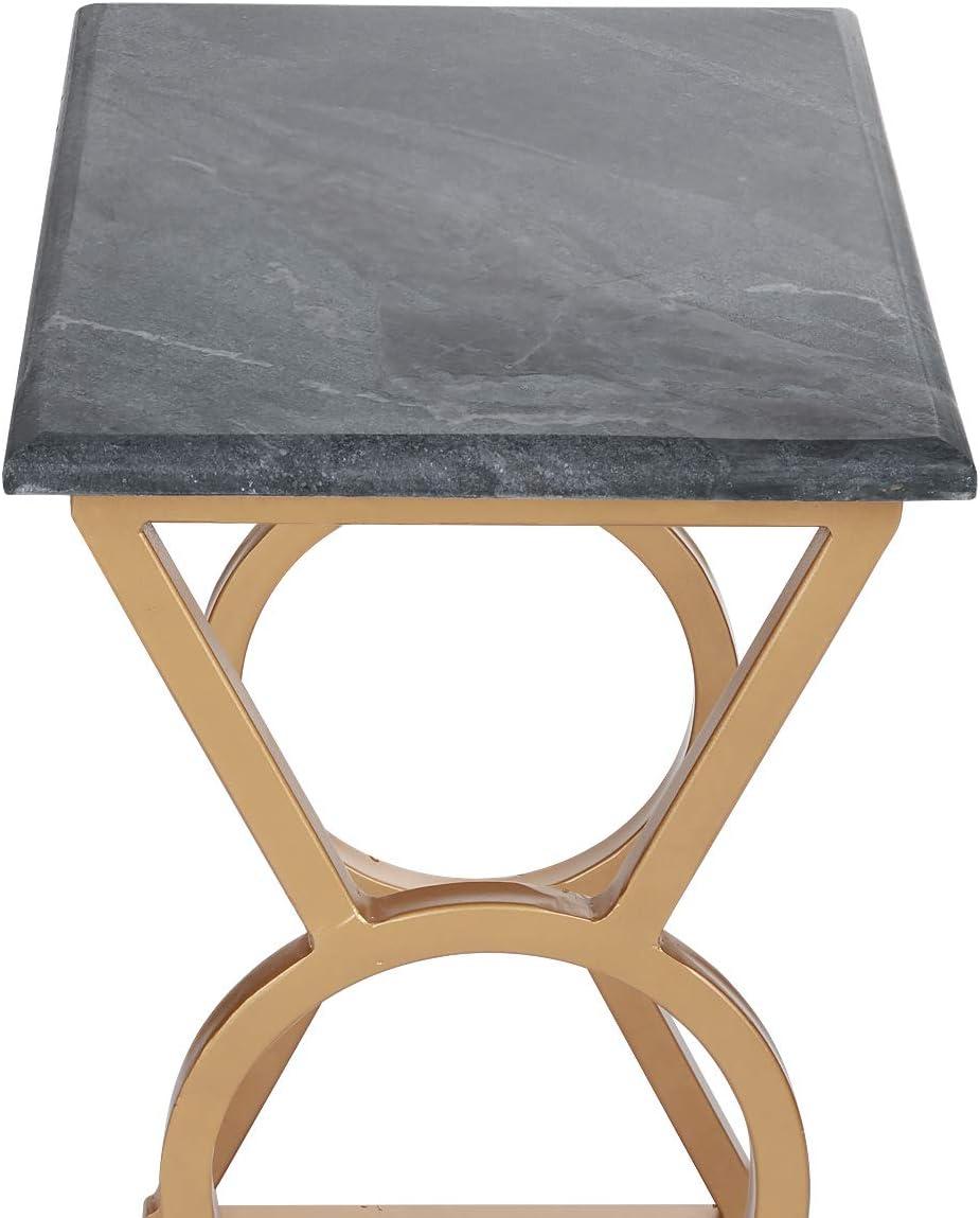 Penguin Home 3309 Salotto Top Effetto Marmo e Struttura in Acciaio Inox Tavolino Quadrato Stand Occasionale Tavolo da t/è per Soggiorno Casa e Ufficio Cornice S // 2 Oro e Verde Legno Set di 2