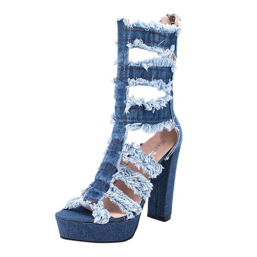 kaifongfu Lady High Heel Platform Wedge Shoes Denim Hollow Versatile Open Toe High Heels Large Size Sandals(Light Blue,40) by kaifongfu