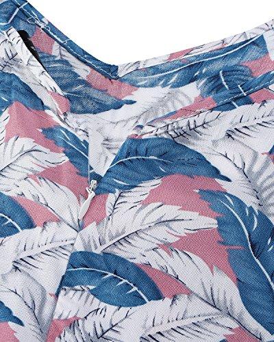 Imprim Clair697029 Bretelle Col Party Plume V Plage Bleu de ACHIOOWA Cocktail Femme Boho de Robe Robe qSWYZX