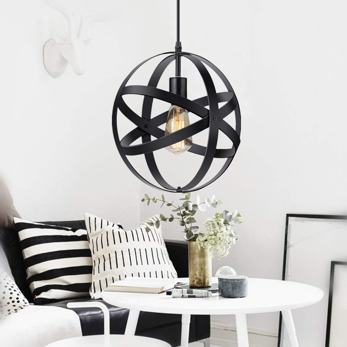 KingSo Industrial Metal Pendant Light, Spherical Pendant Light, Rustic Chandelier Vintage Hanging Cage Globe Ceiling Light Fixture for Kitchen Island Dining Room Farmhouse Entryway Foyer Table Hallway by KingSo