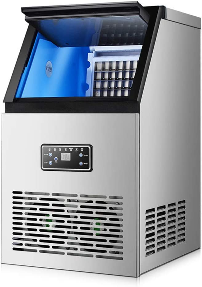 JFGUOYA Commercial Ice Machine 130Lbs/24H with 25Lbs Storage,40 Ice Cubes Ready in 12-18 Mins Freestanding Large Stainless Steel Ice Maker for Restaurant/Bar/Supermarkets
