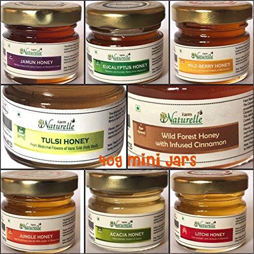 Farm Naturelle-(Pack Of 8X40Gms) Forest Flower Honey/Jungle Honey, Tulsi Flower Honey, Jamun Flower Forest Honey, Acacia Honey, Litchi Honey, Wild Berry/Sidr Forest Honey, Eucalyptus Honey, Cinnamon