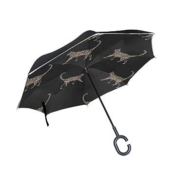Mnsruu Paraguas invertido de Doble Capa Estilo étnico Negro Gatos Plegable Paraguas protección UV para Coche