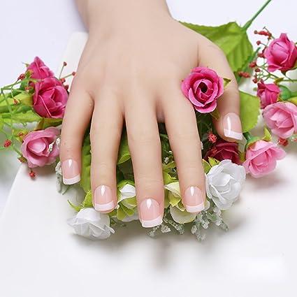 24 puntas de uñas francesas de dedo natural falsas de uñas falsas arte cubierta manicura