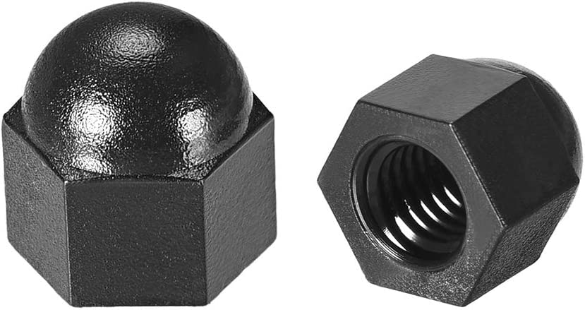 Hex Acorn Dome Head Nuts for Screws Bolts Nylon Black 10 Pcs uxcell M6 Cap Nut