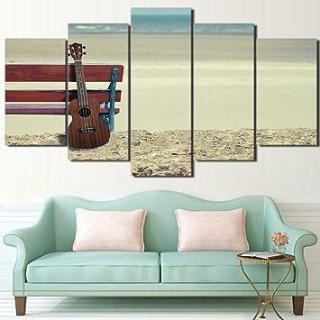 Mural Sala de estar 5 Piezas Arte de pared Playa Guitarra Paisaje Decoración para el hogar
