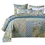 European King Mattress Measurements NEWLAKE Bedspread Quilt Set with Real Stitched Embroidery, Bohemian Floral Pattern,King Size