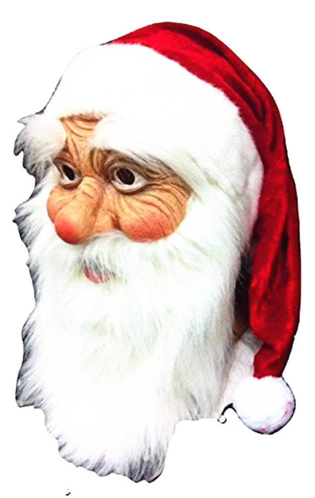 Santa Claus Latex Mask - Realistic Full Face Latex Mask White Beard, Red Cap Fancy Costume Masquerade Halloween Christmas Party New Years Holiday by WPC