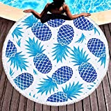 FLY SPRAY Oversized Thick Round Beach Towel Blanket with Tassels 59'' Indian Pineapple Pattern Printing Ultra Super Water Absorbent Muti-Purpose Soft Microfiber Camping Picnic Vacation Mat Blue