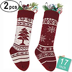 "LimBrige 2 Pack 17"" Large Knit Knitted Christmas Stockings, Classic Xmas Tree / Snowflake, Rustic Personalized Stocking Decorations for Family Holiday Season Décor, White/Red"