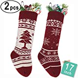 LimBrige 2 Pack 17'' Large Knit Knitted Christmas Stockings, Classic Xmas Tree / Snowflake, Rustic Personalized Stocking Decorations for Family Holiday Season Décor, White/Red